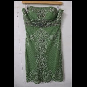 Sue Wong Green Lace Strapless Dress
